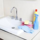 Putzmittel und Waschbecken